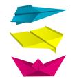 Origami aeroplanes boat print colors vector image