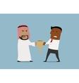 Arabian and black businessmen fighting for trophy vector image