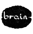text with hand drawn brain vector image
