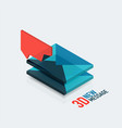 flat new message concept modern 3d isometric vector image