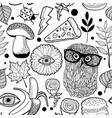 seamless pattern with owls for coloring book vector image