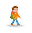 small boy is coming from school vector image