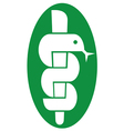 Medical symbol caduceus snake with stick vector image