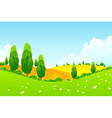 Landscape with Green Trees and Fields vector image vector image