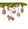 Christmas gingerbreads on a Christmas tree vector image