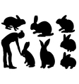 Set of different rabbits vector image vector image