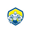 Bodybuilder Lifting Dumbbell Shield Retro vector image
