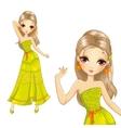 Girl In Summer Long Dress vector image