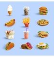 Fastfood Icons Cartoon Set vector image