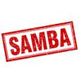 samba red square grunge stamp on white vector image