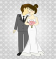 Bride and groom cartoon vector image