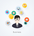 Business concept flat icons set infographics vector image