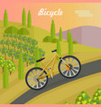racing yellow bicycle on the asphalt track vector image
