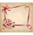 Retro holiday background with pink rose and vector image