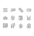 Simple line online commission store icons vector image