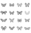 Butterfly fairy icons set monochrome style vector image