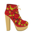 colorful silhouette of high heel shoe with vector image