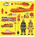 Fire brigade equipment infographics set vector image