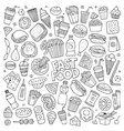Fast food doodles hand drawn symbols vector image