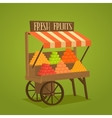 Street shop on wheels with vegetables and fruits vector image