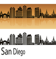San Diego skyline in orange vector image vector image