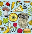 colorful background with fast food and forest bird vector image