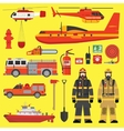 Fire brigade equipment infographics set vector image