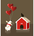 The dog and cat Valentines love vector image