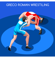 Wrestling 2016 Summer Games 3D Isometric vector image