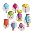 Colorful Chinese lights and lanterns vector image