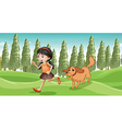 A girl running with her dog vector image vector image