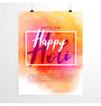 creative holi festival flyer design with colorful vector image