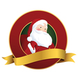Festive Christmas label with smiling Santa Claus vector image