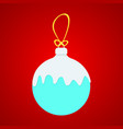 blue x-ball with white snow on yellow string vector image