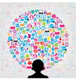 template design with social network icons backgrou vector image vector image