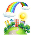 Rainbow over city vector image