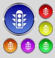 Traffic light signal icon sign Round symbol on vector image