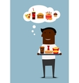 American businessman with fast food lunch vector image