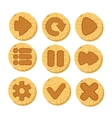 cartoon wooden buttons for game vector image