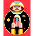 Astronaut and rocket on space backdrop vector image