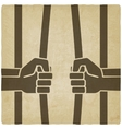 freedom concept hands breaking prison bars old vector image