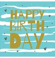 happy birthday gold on blue vector image