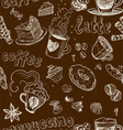 Seamless pattern with coffee cakes pies latte vector image