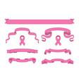 set of pink beautiful ribbon banners vector image