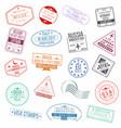 set of visa passport stamps international vector image