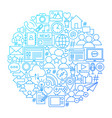 social media line icon circle design vector image