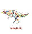 Symbols of dinosaurs and dinosaur footprints vector image