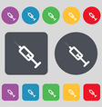 syringe icon sign A set of 12 colored buttons Flat vector image