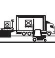 Pallet truck and forklift loading truck vector image vector image