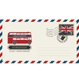 envelope with postage stamp with doubledecker vector image